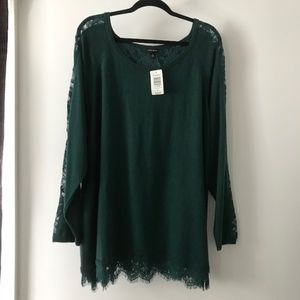 Torrid Green Lace Trim Sweater